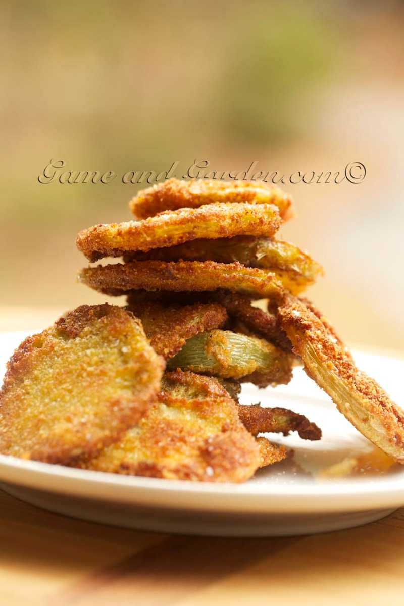 I fried these green tomatoes in olive oil. Did you know that olive oil has a higher smoking point that most other oils?