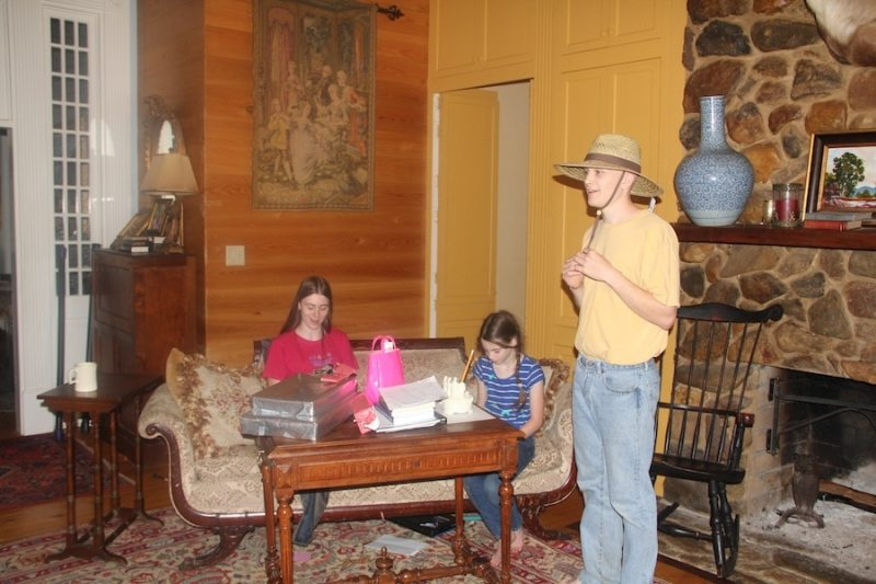 """The Birthday Kids having fun! Notice that Hunter has only opened his """"farm"""" hat."""