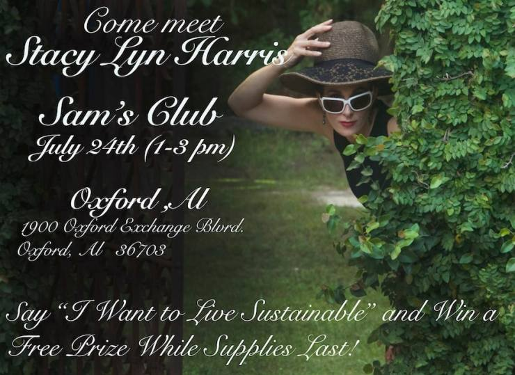 Come meet me at Sam's Club! I will be signing books. Forgive the photo: I was pretending to be a Sustainable Audrey Hepburn.