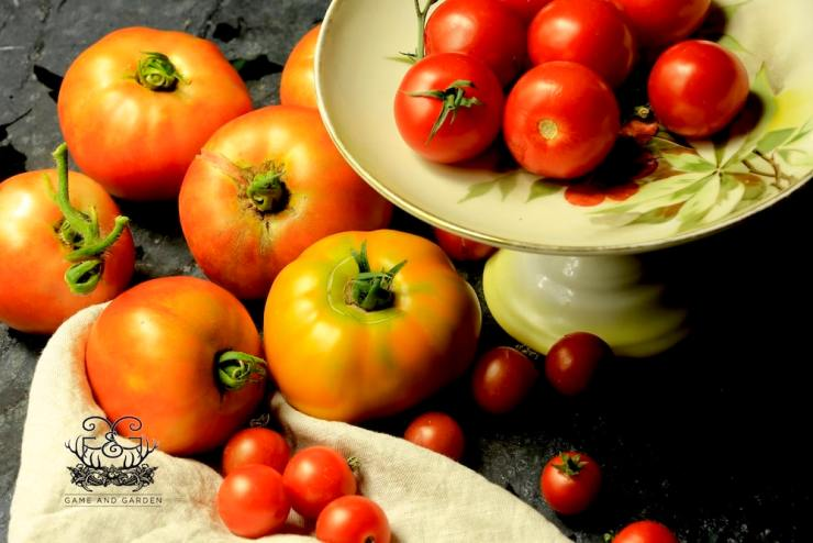 Plant enough Heirloom and Hybrid tomatoes to eat right away (everyday of the harvest season) and enough to preserve for the entire year.