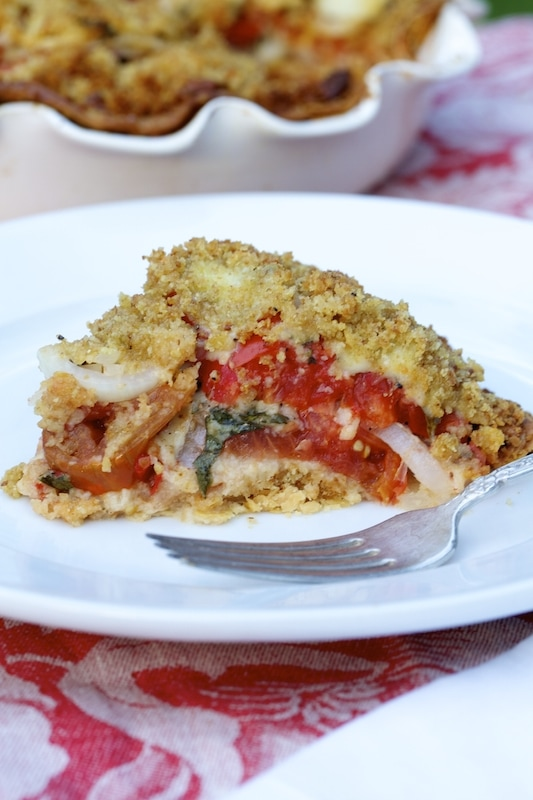 Tomato Pie Recipe at its finest. You will never miss the meat in this savory meal!
