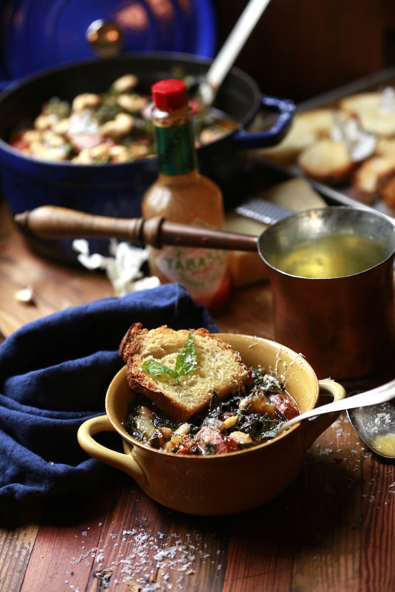 Garlic Toast with Sage Butter makes this comfort dish of Collards and Bean Soup absolutely PERFECT!