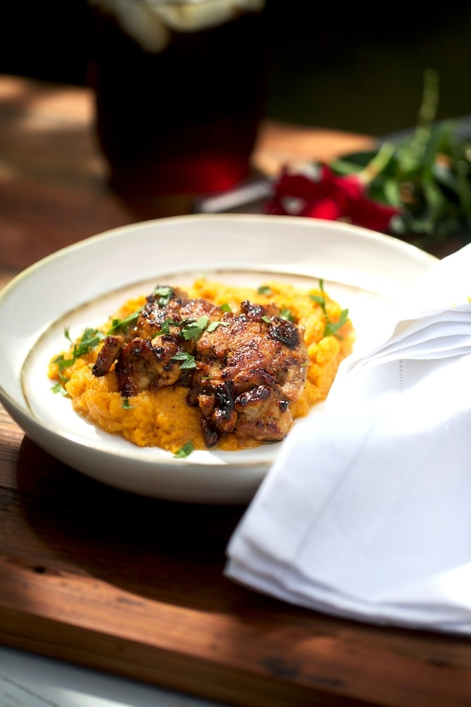 Pan Fried Quail over Mashed Sweet Potatoes