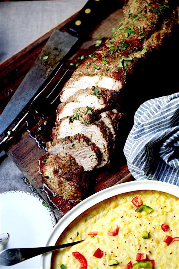 During the winter months or for Sunday brunch, I love serving this easy pork loin along with the creamed corn and a side salad.