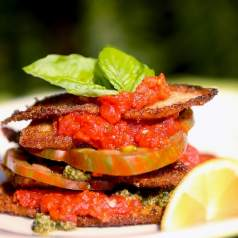 Fried Squash with Tomato, Tomato Sauce and Basil Pesto - Truly an Amazing Dish. You really won't believe how great this recipe is. You can freeze the sauce and pesto, pull it out and fry fresh squash and add tomatoes! Unbelievable.