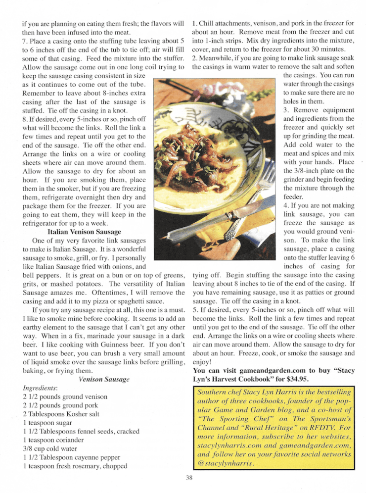 """Stacy Lyn's """"Art of Sausage Making"""" featured in Backwoodsman Magazine."""