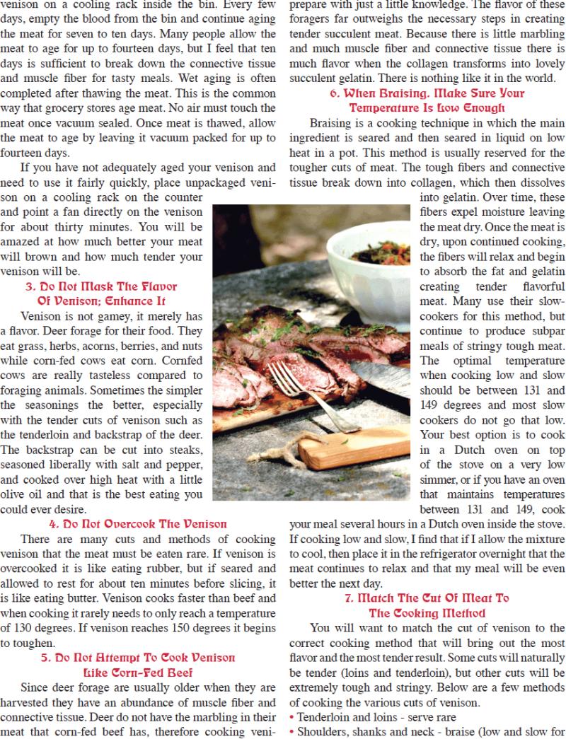 Backwoodsman Magazine January 2018 - Stacy Lyn's Venison Ten Tips for Preparing Venison.