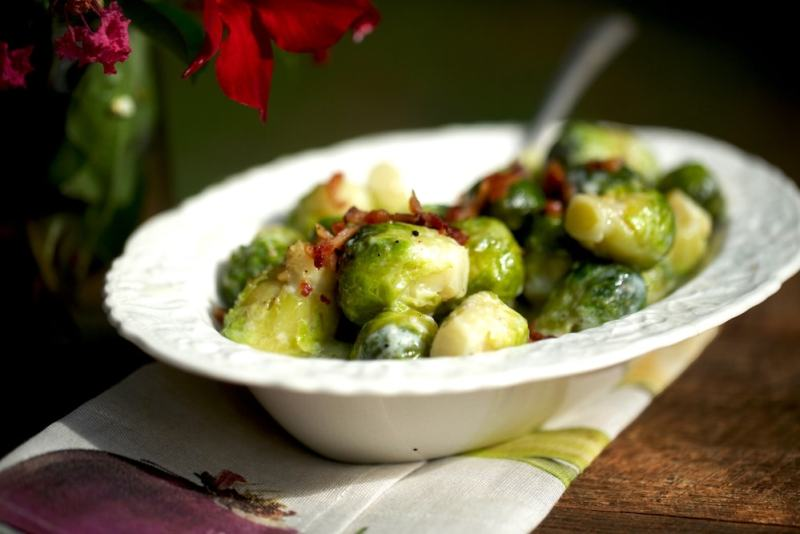 Creamed brussels sprouts side dish
