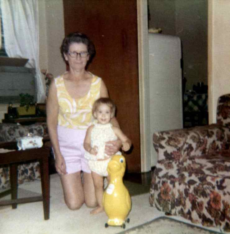 Stacy as a child with her grandmother