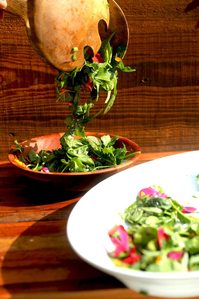 herb salad with simple vinaigrette and edible flowers and fruit