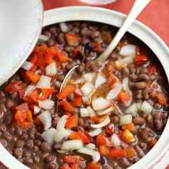 Heirloom cowpeas, shelled and harvested from Stacy Lyn's garden cooked into a soup
