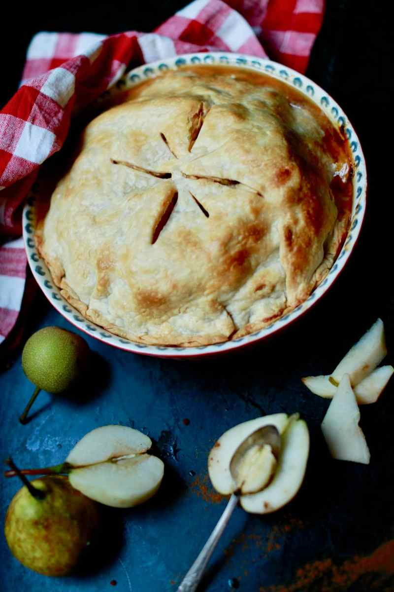 Homemade pear pie with homegrown pear and homemade pie crust