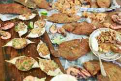 Assortment of fried seafood, fish fry after beach day