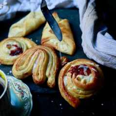 Recipe for Danish pastries by Stacy Lyn, with instructions for spiraled danish pastries and danishes with cream, pastry, or jelly filling