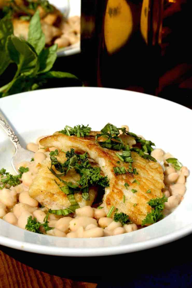 Crappie fish with White Beans and Basil, recipe by Stacy Lyn Harris