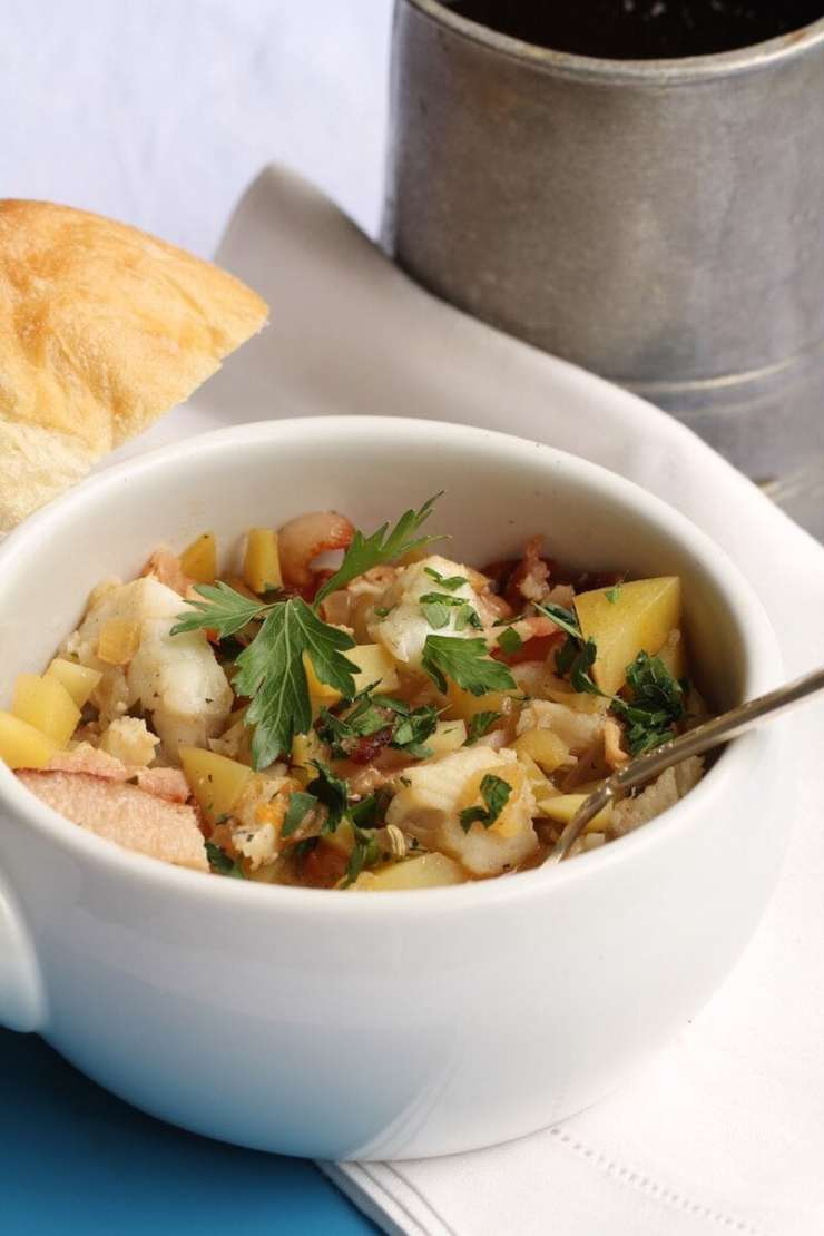 Fisherman's stew made with flounder fillets and bacon, recipe by Stacy Lyn Harris