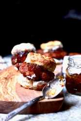 Fried turkey biscuit with red pepper jelly, recipe by Stacy Lyn Harris