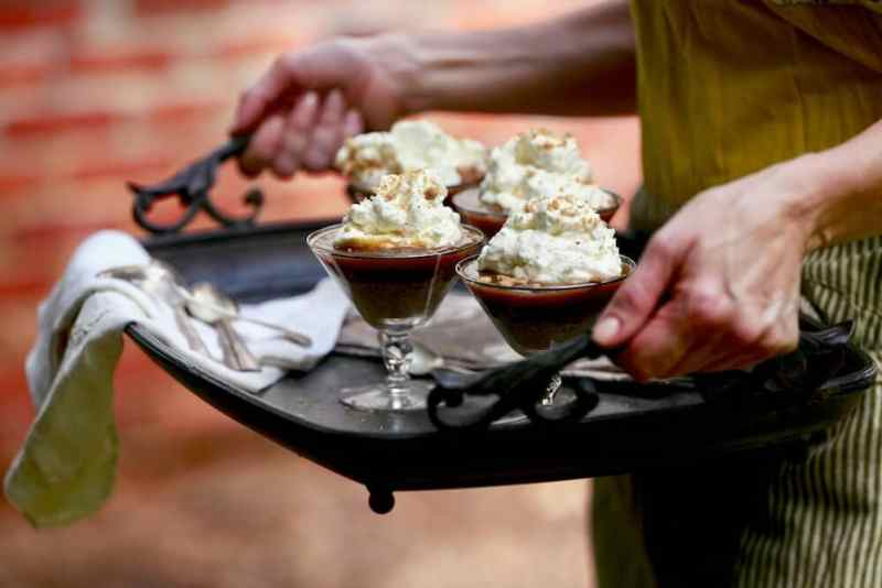 Oatmeal pecan crumble parfait with vanilla chantilly cream served in martini glasses, recipe by Stacy Lyn Harris
