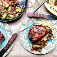 Spinach and mozzarella stuffed pork chops with cane syrup dijon glaze, recipe by stacy lyn harris