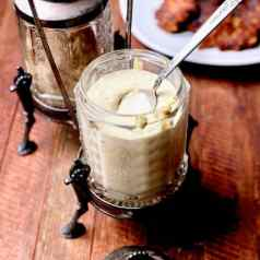 Sweet and tangy comeback sauce, made from mustard, horseradish, mayonnaise, lemon juice and more, perfect for crab cakes or other fried foods, recipe by Stacy Lyn Harris