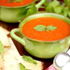 Fresh homemade tomato soup with vine-ripened tomatoes and fresh herbs straight from the garden, recipe by Stacy Lyn Harris in her Harvest cookbook