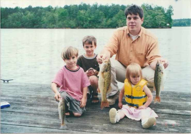 Scrapbook photos of Stacy Lyn Harris's children when they were young, scott and kids fishing on the pier