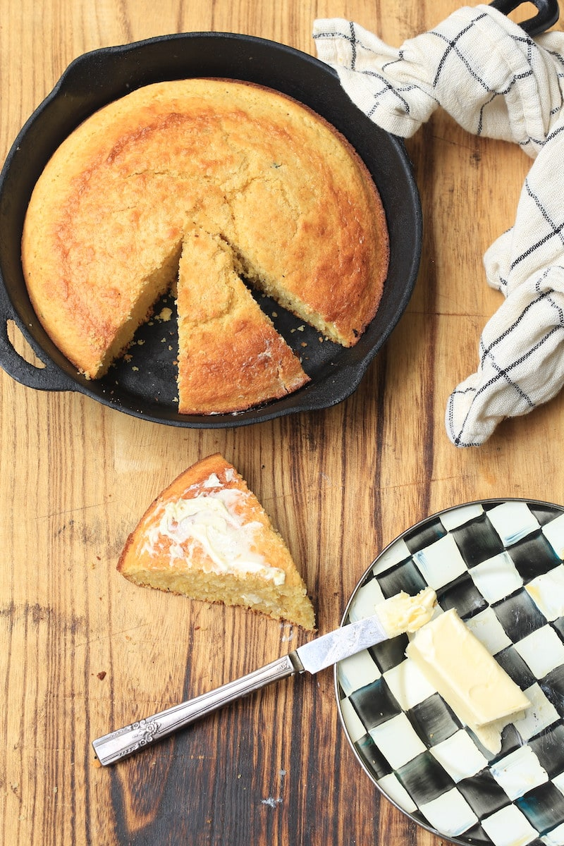 Sweet Cornbread fresh from the skillet with butter on top