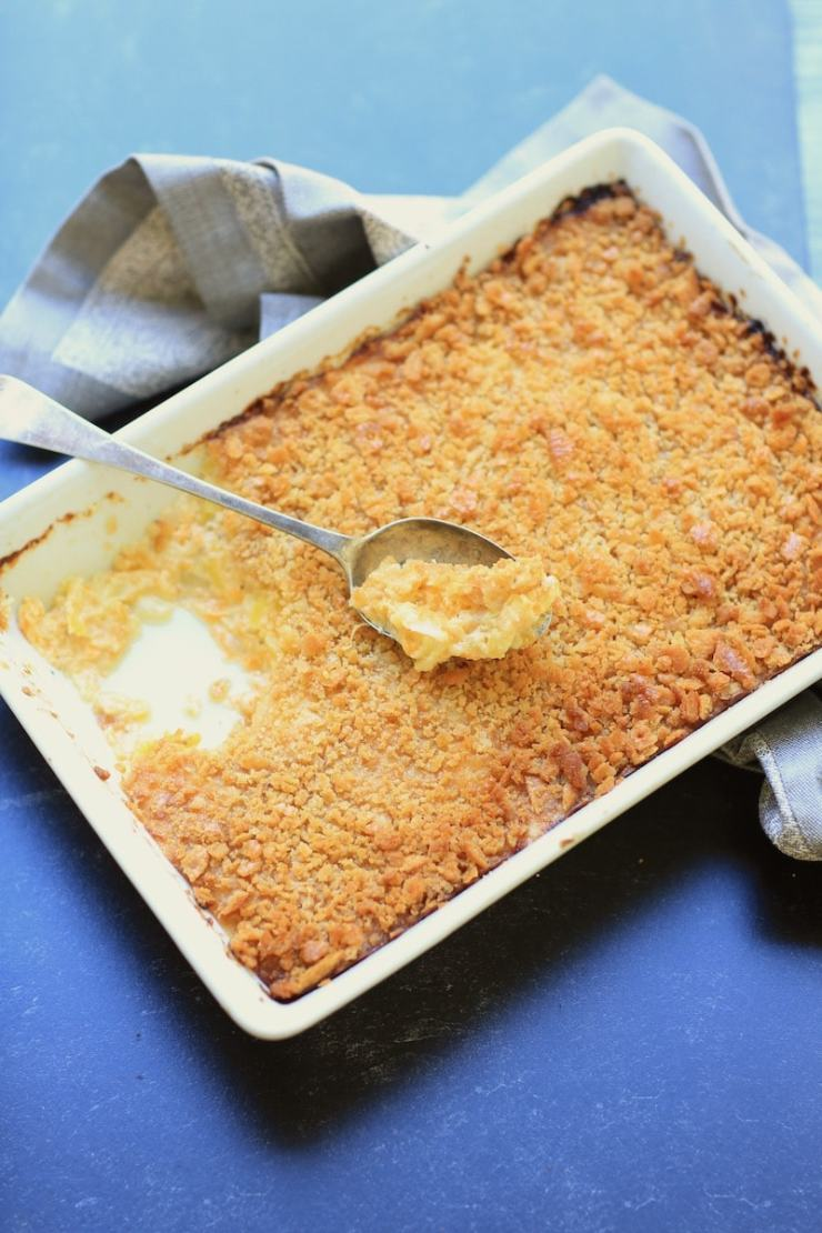 Creamy and crunchy, this buttery and cheesy squash casserole bakes to perfection.