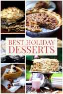 Desserts for the Holidays with image of chocolate meringue pie, pecan pie, sweet potato pie, and carrot cake