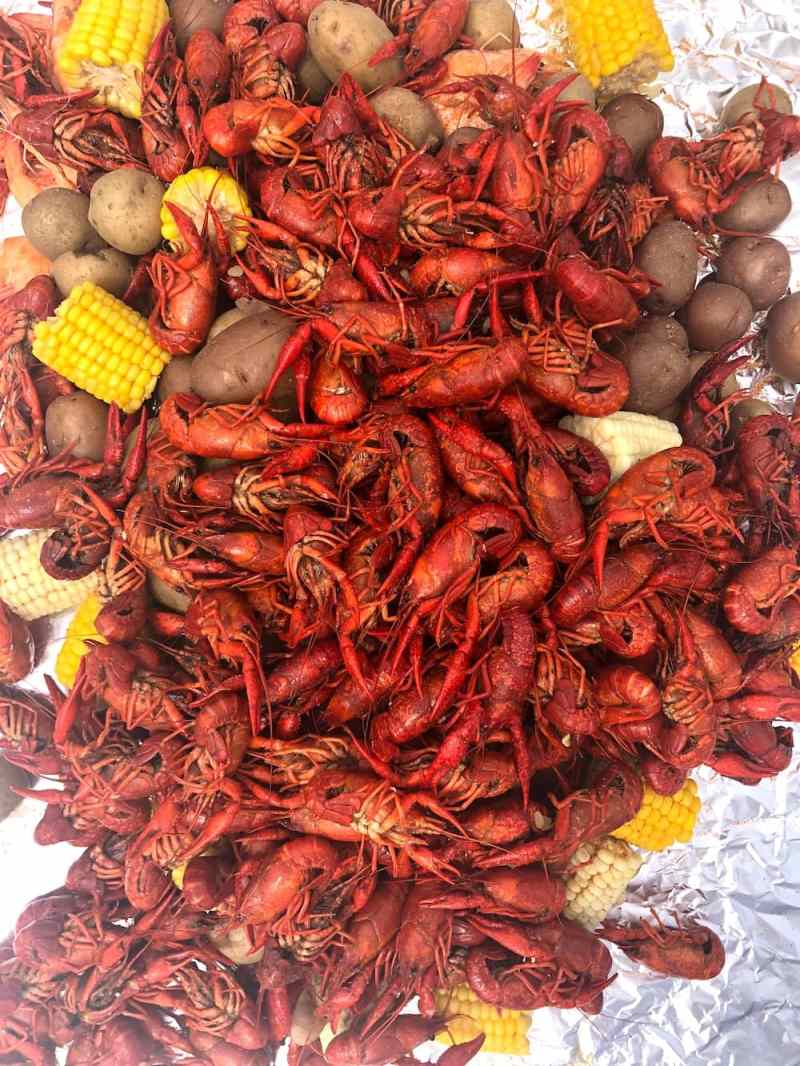 Overhead shot of crawfish, corn, potatoes, and shrimp on foil from crawfish boil recipe