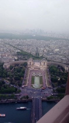 View of Paris from the top of the Eiffel Tower.