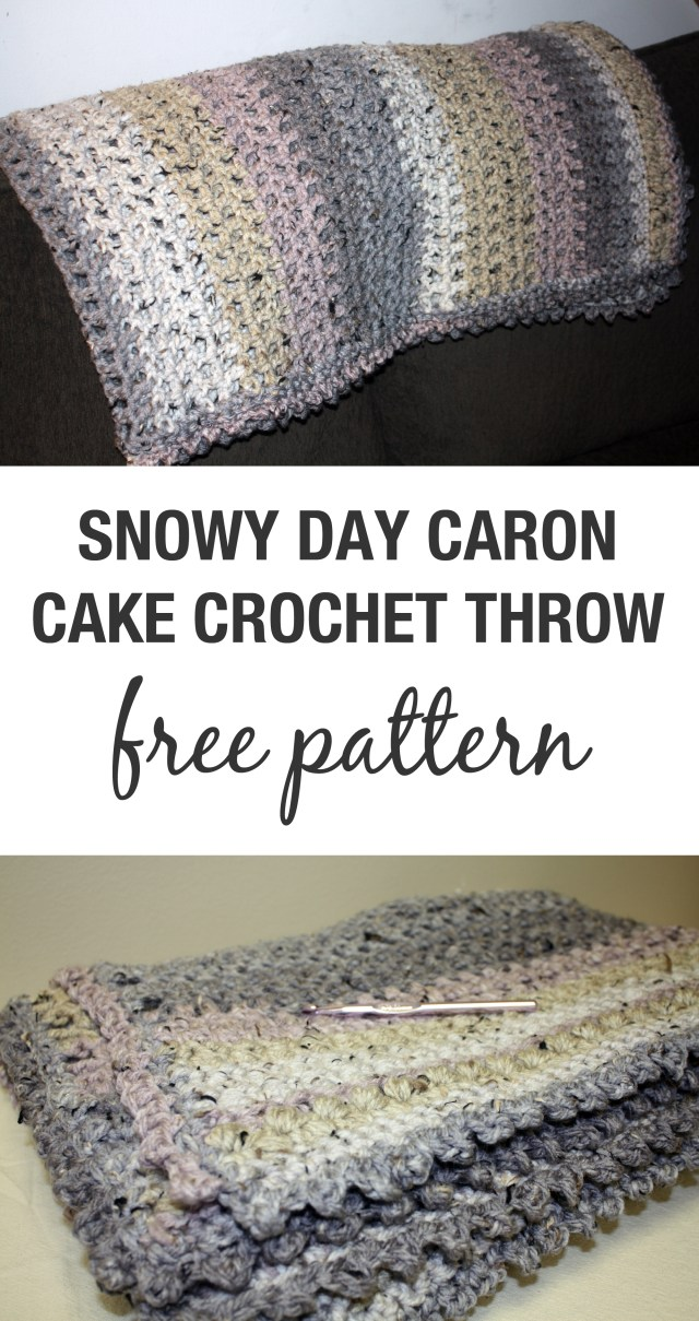 Caron Cake Crochet Blanket Free Pattern Snowy Day Throw Stacys