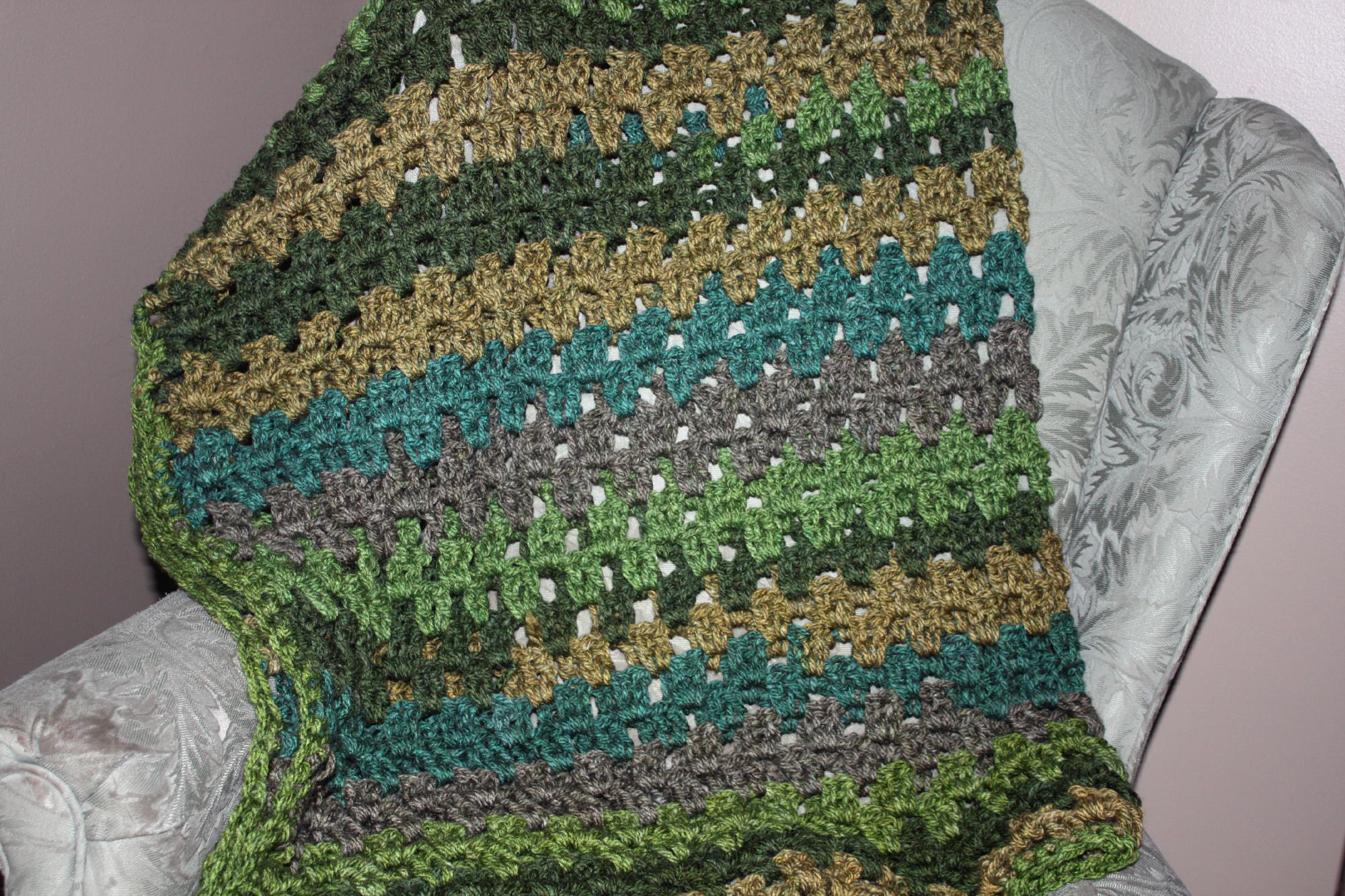 Granny Stripe (small) Crochet Throw with Caron Tea Cakes – Free ...