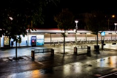 My small town's train station at night.