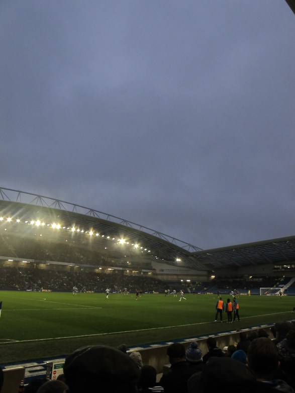 The Amex' giant roof came in handy for many today, that is if you were not in a row lower than Row H. (Photo: Stadiafile)