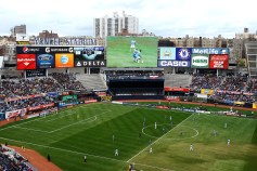 OCCASIONALLY AWKWARD: While new boys NYCFC were awarded their franchise on condition that a new stadium would follow, they're finding it tough to build in land-scarce NYC. Their indefinite solution is an awkward, in-season ground-share of Yankee Stadium, a building definitely NOT built for soccer. [Yankee Stadium Bronx, NY/Capacity: 27,470 (50,291 Baseball)/Club: New York City FC] (Photo: Empire of Soccer)