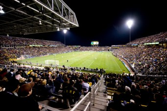 AMERICANA: Columbus, the first MLS franchise, was first to build a soccer-specific stadium. More bleacher than building, Crew Stadium's devoted fan base and committed club ownership ensure its two tiers are full all summer. [Columbus Crew Stadium, Columbus, OH/Capacity: 20,14/ Club: Columbus Crew SC/Architect: NBBJ] (Photo: ColumbusSports.org)