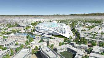 Aerial view of the proposed mega project (Photo: HKS Architects)
