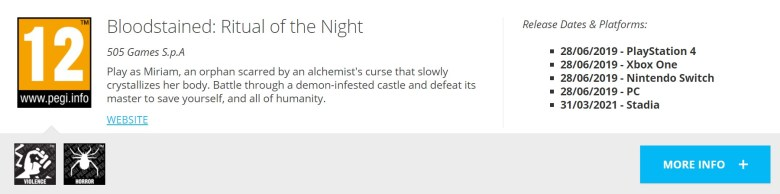 Bloodstained Ritual Of The Night Stadia
