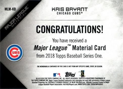 2018, Major League Materials back of #MLB-KB Kris Bryant