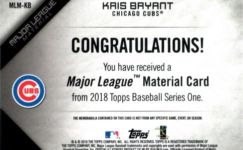 2018, Major League Materials back of #MLB-KB Kris Bryant