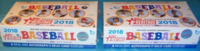 Two Hobby Boxes of2018 Topps Heritage Baseball