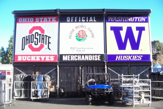 Large Rose Bowl merchandise stand on the stadium concourse
