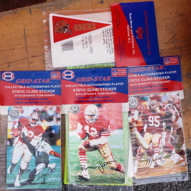 Grid-Star 49ers static cling stickers featuring John Taylor, Ronnie Lot and Michael Carter