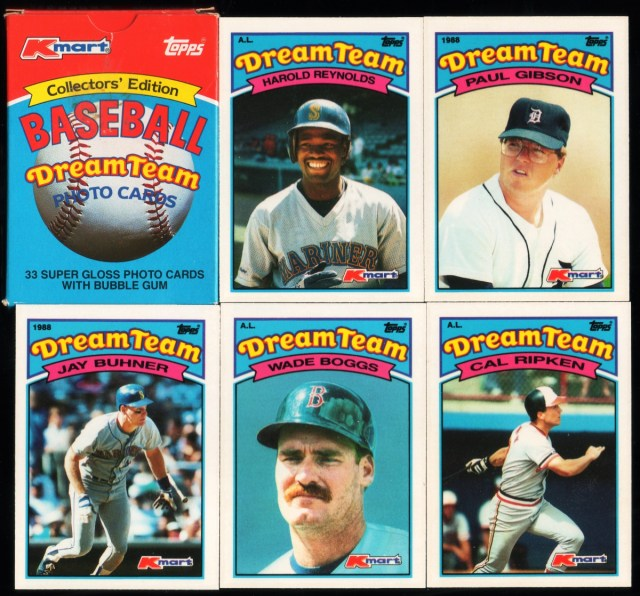 1989 Topps K-Mart Dream Team: Box front and assorted cards