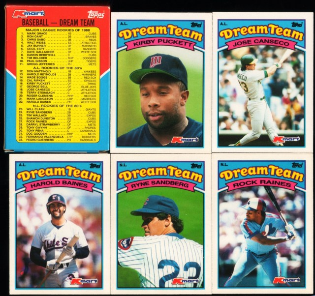 1989 Topps K-Mart Dream Team: Box back and assorted cards