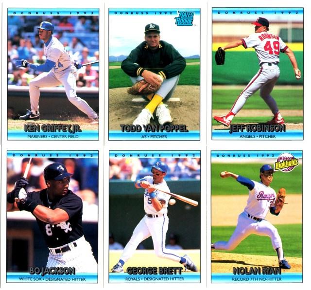 A sample of 1992 Donruss baseball cards