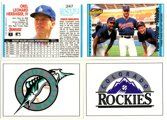 A sample of 1992 Donruss baseball cards