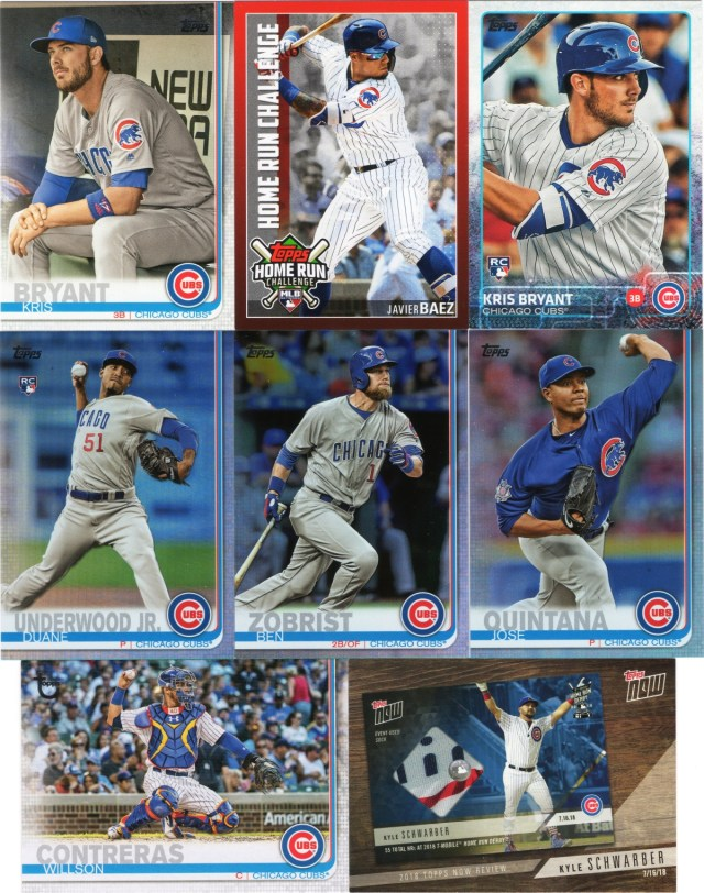 More 2019 Topps Series 1 Cubs inserts including a variation SP and a vintage stock card