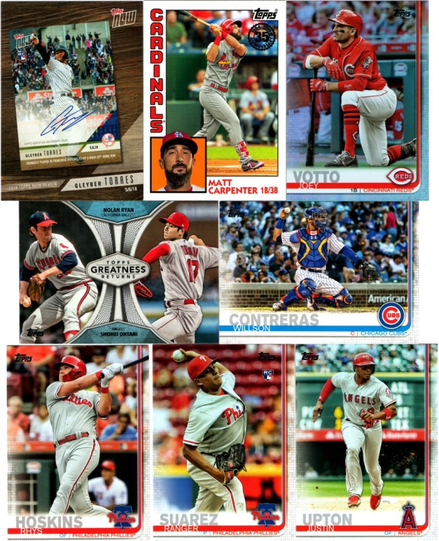 2019 Topps Series 1 cards from a retail value pack
